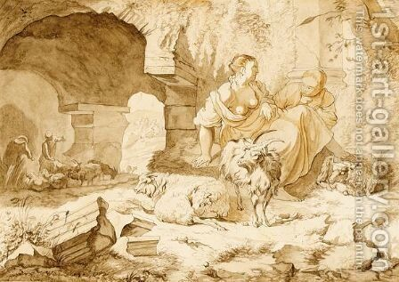 Two Shepherdesses And Their Sheep Near A Classical Ruin, Other Shepherds Beyond by Jacob Van Der Does I - Reproduction Oil Painting