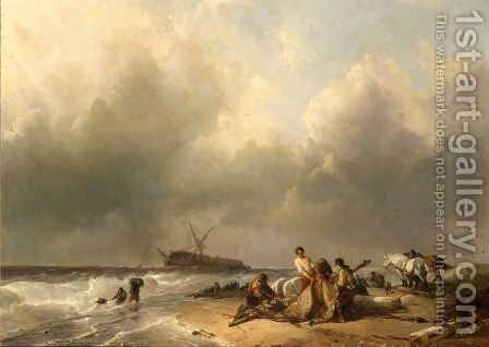 Figures On The Beach, A Schip Wreck In The Breakers by Charles Rochussen - Reproduction Oil Painting