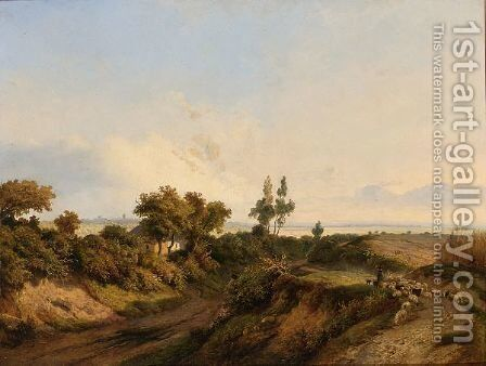 A Shepherd And His Flock In A Summer Landscape by Jan Baptist De Jonge - Reproduction Oil Painting