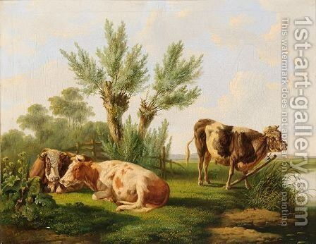 Cows Resting In A Summer Landscape by Albertus Verhoesen - Reproduction Oil Painting