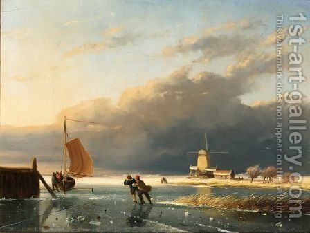 A Frozen Waterway With Figures On The Ice, A Windmill In The Distance by Charles Henri Leickert - Reproduction Oil Painting