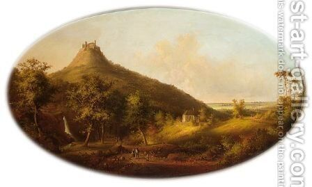 Figures On A Country Road, Castle Hohenzollern In The Background by Carl Fedeler - Reproduction Oil Painting