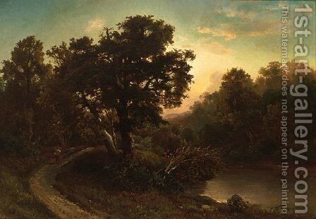 A Traveller In A Wooded Landscape by August Weber - Reproduction Oil Painting