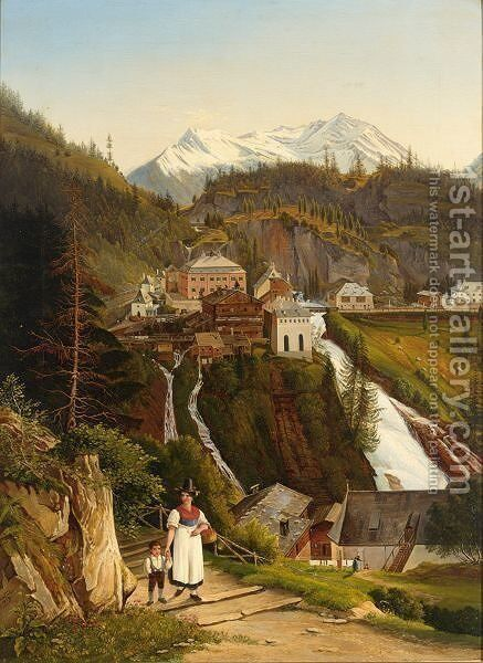 A Woman With Her Child On A Mountain Path, A Village Near A Waterfall In The Background by Emil Ludwig Lohr - Reproduction Oil Painting