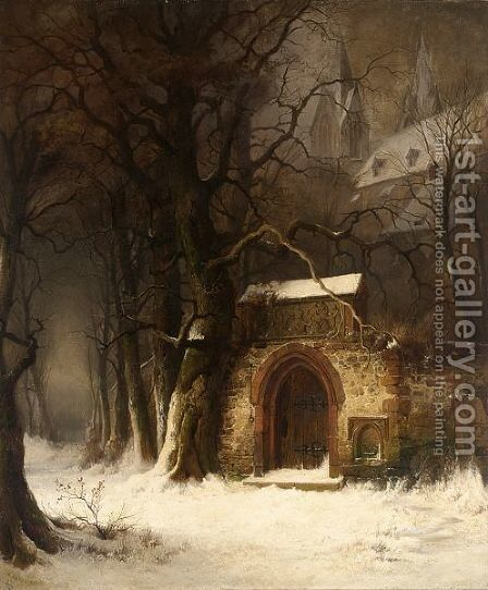 View Of A Church-Yard Entrance In Winter by Edmund Koken - Reproduction Oil Painting