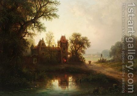 A Woodgatherer Passing A Smithy by Albert Bredow - Reproduction Oil Painting
