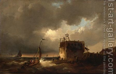Shipping On Choppy Waters Near A Watch Tower by Carl Fedeler - Reproduction Oil Painting