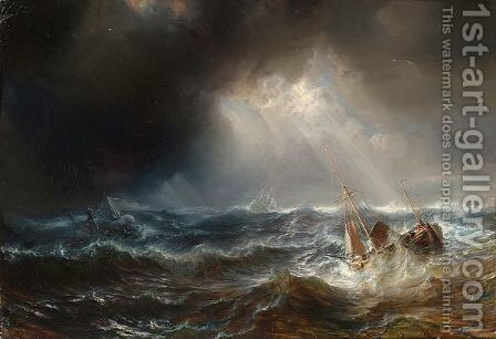 Shipping In A Storm by Theodore Gudin - Reproduction Oil Painting