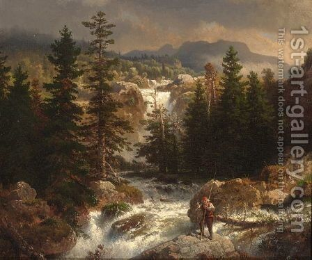 A Fisherman Inspecting His Catch Near A Mountain Torrent by Andreas Achenbach - Reproduction Oil Painting