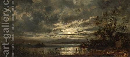 Fishermen On A Moonlit Lake by Adolf Stademann - Reproduction Oil Painting