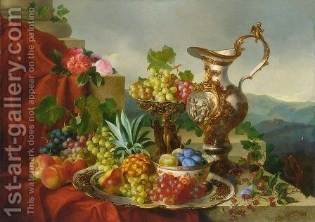 A Still Life With Fruit, Roses And A Pitcher Set On A Marble Ledge by Adalbert Schaffer - Reproduction Oil Painting