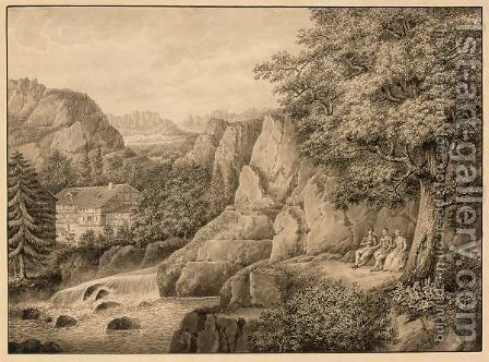 Figures Resting In A Mountainous Landscape by Carl Julius Hermann Schroder - Reproduction Oil Painting