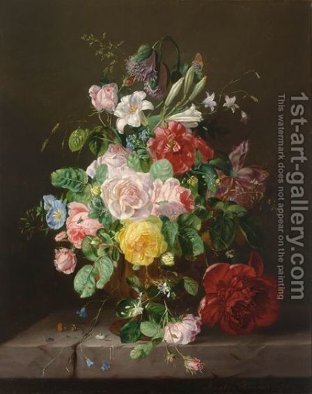 A Flower Still Life With Roses by Amalie Kaercher - Reproduction Oil Painting