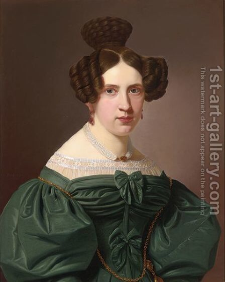 A Portrait Of Emilie Feustell by Christian Tunica - Reproduction Oil Painting
