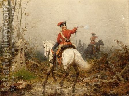 Cavalry Attacking by Christian Sell - Reproduction Oil Painting