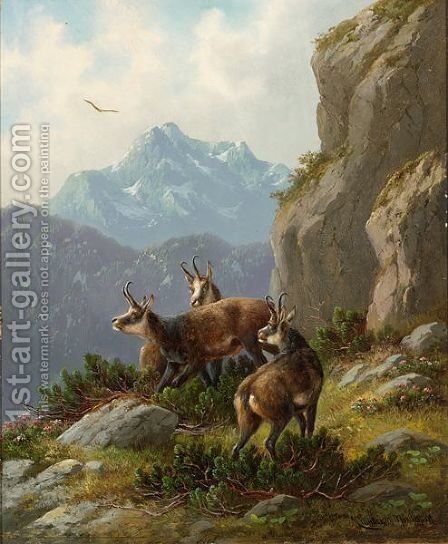 Chamois In An Alpine Landschape by Moritz Muller - Reproduction Oil Painting