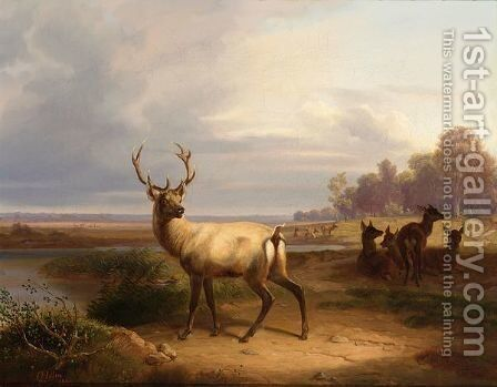 Deer In A Landscape by Christian Frederik Carl Holm - Reproduction Oil Painting