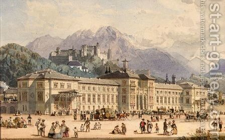 View Of Salzburg by (after) Rudolph Von Alt - Reproduction Oil Painting