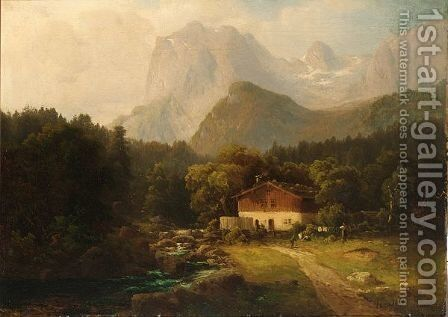 Figures Before A Farmhouse In An Alpine Landscape by Hugo Ullik - Reproduction Oil Painting
