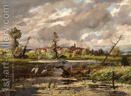 Herons At The Waterside, A Town Beyond by Hans Richard Von Volkmann - Reproduction Oil Painting