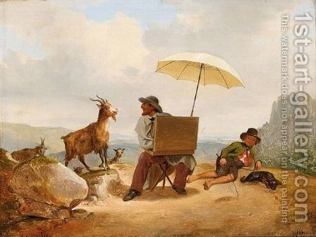 An Artist Painting Goats In A Mountainous Landscape by Carl Julius Hermann Schroder - Reproduction Oil Painting