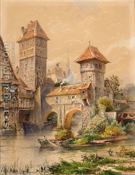 A Town On The Water Front, Possibly Nurnberg by Hermann Wunderlich - Reproduction Oil Painting