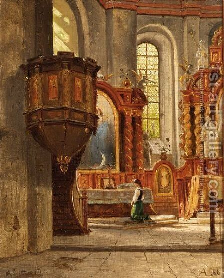 A Girl In A Church Interior by Ascan Lutteroth - Reproduction Oil Painting