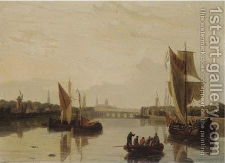 Dutch River Scene by (after) John Thomas Serres - Reproduction Oil Painting