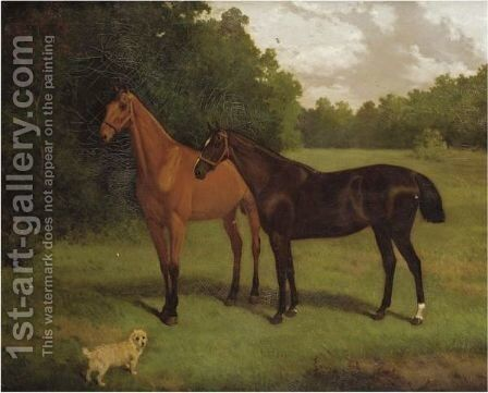 Two Hunters And A Dog by Charles (Burton) Barber - Reproduction Oil Painting