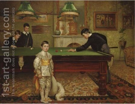 The Billiard Room by Albert William Holden - Reproduction Oil Painting