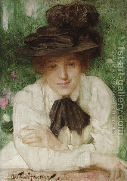Portrait Of An Edwardian Lady by Arthur Hacker - Reproduction Oil Painting