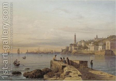 View Of The Harbour In Genoa by Hermann David Salomon Corrodi - Reproduction Oil Painting