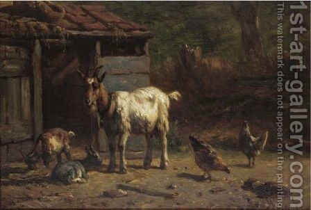 Goats And Chickens In A Yard by Simon Van Den Berg - Reproduction Oil Painting