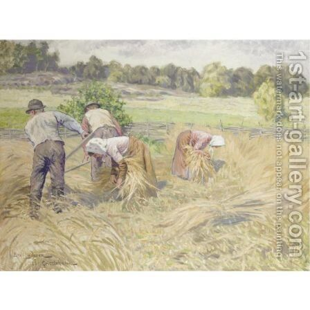 Harvesters In A Landscape by Emil Lindgren - Reproduction Oil Painting