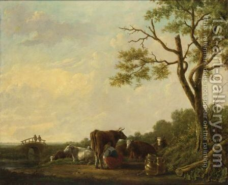 A Shepherdess Milking Cows In A Landscape, Two Travellers Watching On A Bridge Beyond by (after) Jacob Van Strij - Reproduction Oil Painting
