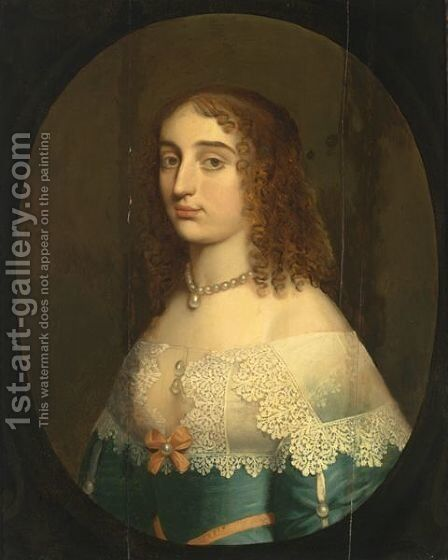 A Portrait Of A Lady, Bust Length, Wearing A Blue Satin Dress With A Pink Ribbon And A White Lace Collar And Pearl Jewellery by (after) Honthorst, Gerrit van - Reproduction Oil Painting