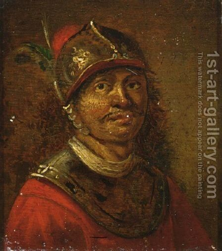 A Portrait Of A Soldier, Bust Length, Wearing A Helmet by Dutch School - Reproduction Oil Painting