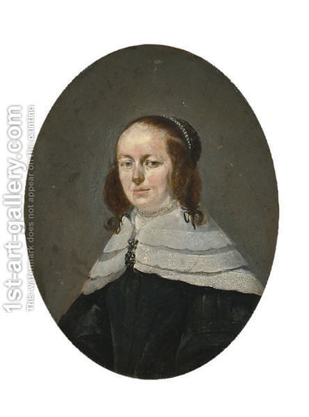 A Portrait Of A Lady, Bust Length, Wearing A Black Dress With A Lace Collar And A Pearl Neck Lace by (after) Gerard Ter Borch - Reproduction Oil Painting
