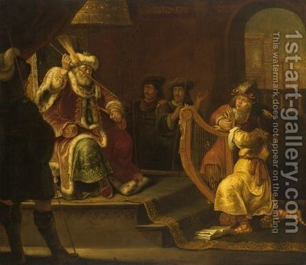 David Playing The Harp Before Saul (I Sam. 1623) by (after) Franz Wulfhagen - Reproduction Oil Painting
