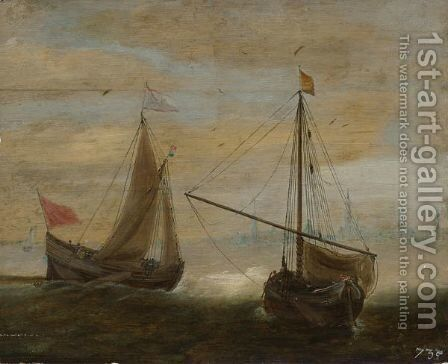 Two Small Ships In Front Of A Dutch Town by (after) Hans Goderis - Reproduction Oil Painting