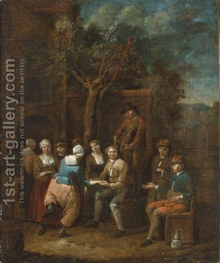 Peasants Making Merry Outside A Tavern by Jan Baptist Lambrechts - Reproduction Oil Painting