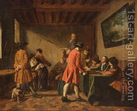 Elegant Figures In An Interior Playing Tric-Trac by Jan Jozef, the Younger Horemans - Reproduction Oil Painting
