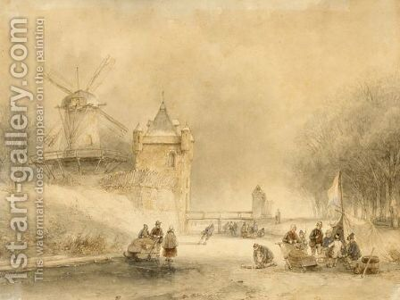 A Winterlandscape With Skaters And Other Figures Near A Koek And Zopie by Andreas Schelfhout - Reproduction Oil Painting