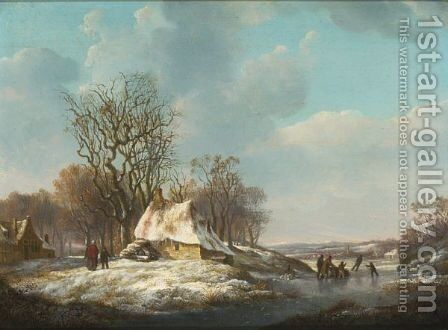 A Winter Landscape With Skaters On The Ice by Nicolaas Barnouw - Reproduction Oil Painting