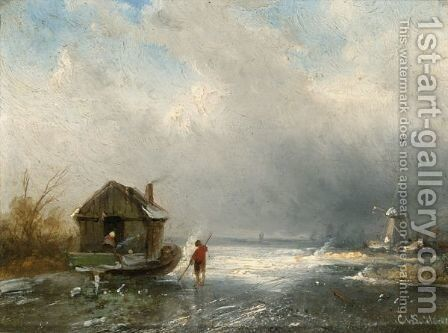 Winterlandscape With Figures On A Frozen River , A Windmill In The Distance by Charles Henri Leickert - Reproduction Oil Painting