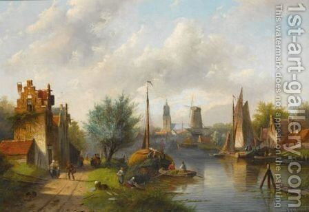 Figures On The Waterfront, A Windmill In The Distance by Jan Jacob Coenraad Spohler - Reproduction Oil Painting