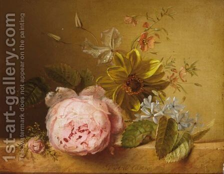 A Still Life With Peonies On A Ledge by Gabriel Henriques De Castro - Reproduction Oil Painting