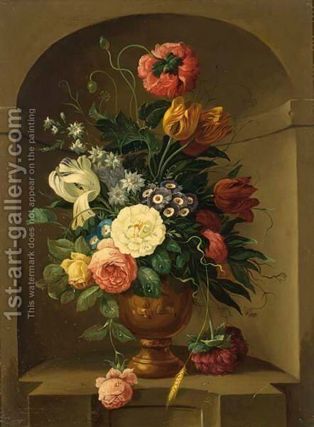 A Still Life With Tulips, Roses, Small Morning Glory And Other Flowers, All In A Stone Vase Standing In A Niche by Dutch School - Reproduction Oil Painting