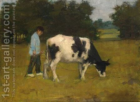 A Farmer With His Cow In The Meadow by Anton Mauve - Reproduction Oil Painting