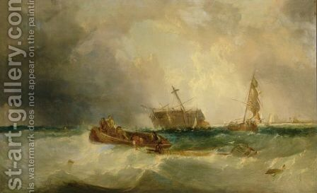 Fishing Boats Aiding A Dismasted Vessel by (after) James Edwin Meadows - Reproduction Oil Painting